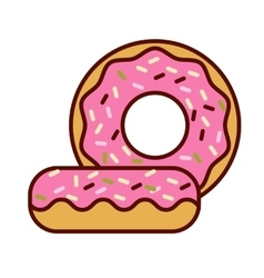 Glazed ring doughnut detailed vector