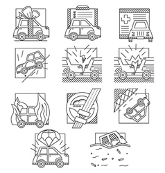 Car insurance flat line icons vector