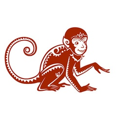 Ethnic ornamented monkey vector