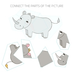 Puzzle game for chldren rhino vector