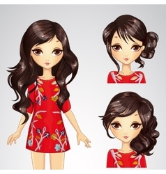 Girl in red dress and collection of hairstyle vector