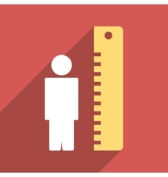 Man height meter flat long shadow square icon vector