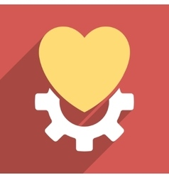 Mechanical heart flat longshadow square icon vector