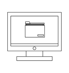 Computer with folder vector
