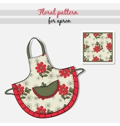 Apron red flowers vector