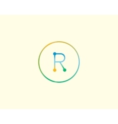 Abstract letter R logo design template Colorful vector image vector image