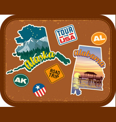 alaska alabama travel stickers vector image