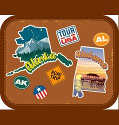 Alaska alabama travel stickers vector