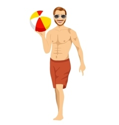 Beach dude holding an inflatable striped ball vector