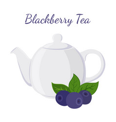Blackberry tea in teapot with berries vector
