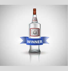 Bottle of vodka with blue ribbon isolated on vector