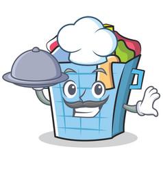 Chef laundry basket character cartoon vector