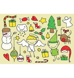christmas kid doodle vector image vector image
