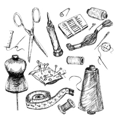 Collection of hand drawn sewing tools vector image