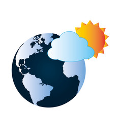 Colorful earth world map with cloud and sun vector