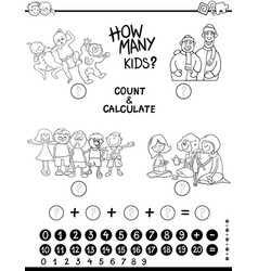 Count and calculate game coloring page vector