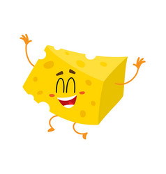 cute and funny cheese chunk character jumping from vector image
