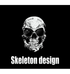 Design for poster or t-shirt print with skull vector