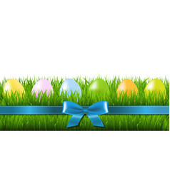 Easter grass border with eggs vector