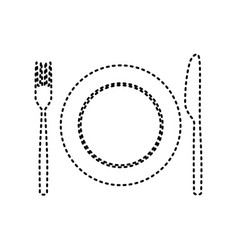Fork knife and plate sign black dashed vector