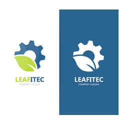 Gear and leaf logo combination mechanic vector