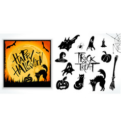 halloween clipart set with card sample vector image vector image