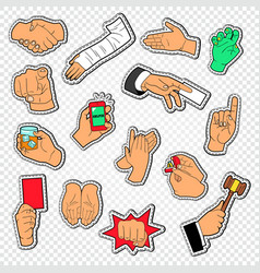 Male hands signs stickers man arm gesturing vector