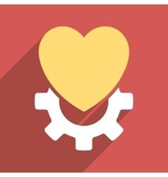 Mechanical heart flat longshadow square icon vector