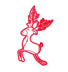 Red silhouette of funny reindeer jumping with big vector