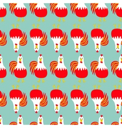 Rooster cock bird seamless pattern line 2017 happy vector