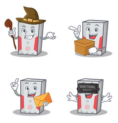 Set of computer character with witch box envelope vector