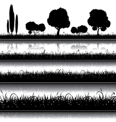 Set of nature background with grass bushes vector