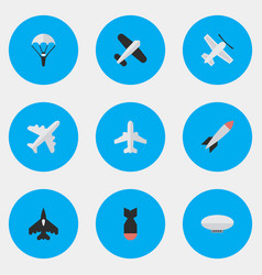 set of simple aircraft icons vector image vector image