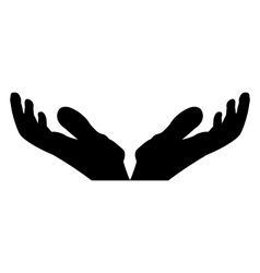 silhouette hand on white background vector image
