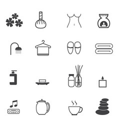 spa massage icons set vector image vector image