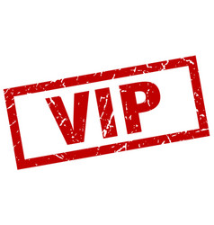 Square grunge red vip stamp vector