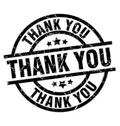 Thank you round grunge black stamp vector