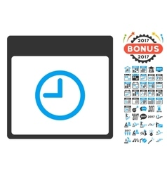 Time Calendar Page Flat Icon With Bonus vector image