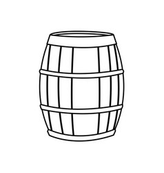 Wine barrel wooden conatiner line image vector