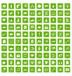 100 digital marketing icons set grunge green vector image vector image