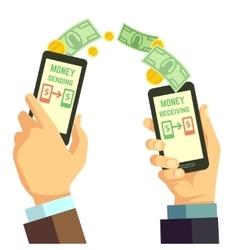Wireless sending money with smartphone vector image