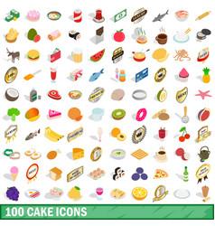 100 cake icons set isometric 3d style vector image