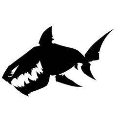 Black graphic silhouette shark with sharp teeth vector