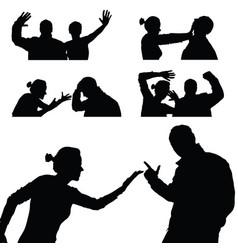 Violence in family set in black color vector