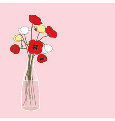 Vase with poppies vector image