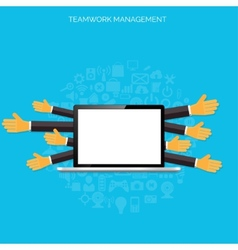 Teamwork management concept flat icons global vector