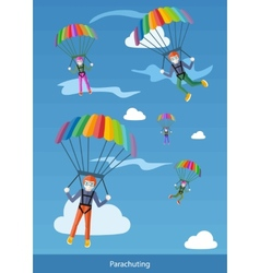Happy peoples plans with parachutes vector