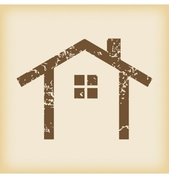 Grungy cottage icon vector