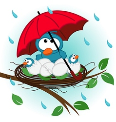 Bird under umbrella in nest vector