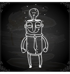 Man with a bright idea drawing on chalk board vector